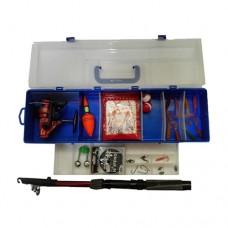 Cassetta box pesca con canna da pesca ami mulinello esca artificiale galleggianti