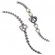 Orologio a cuore con strass taglio swarovski su quadrante e bracciale